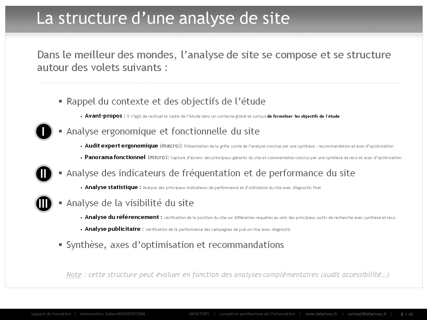 formation universitaire en conception - réaliser un audit (structure de l'audit)