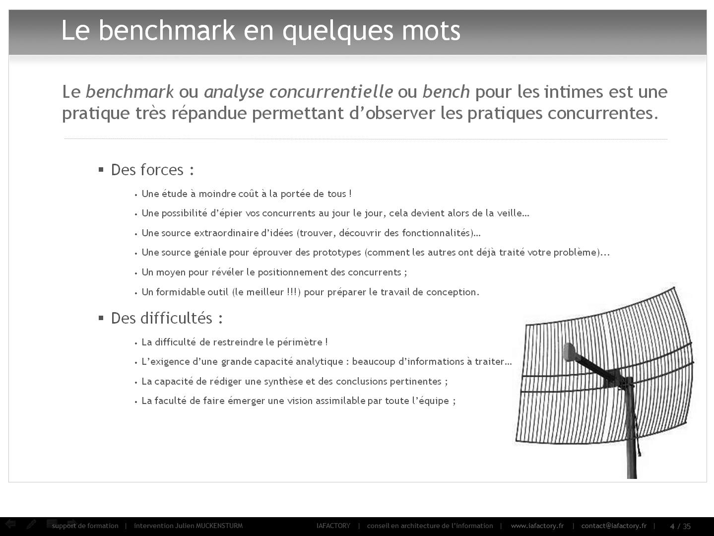 formation universitaire en conception - réaliser un benchmark (principes)