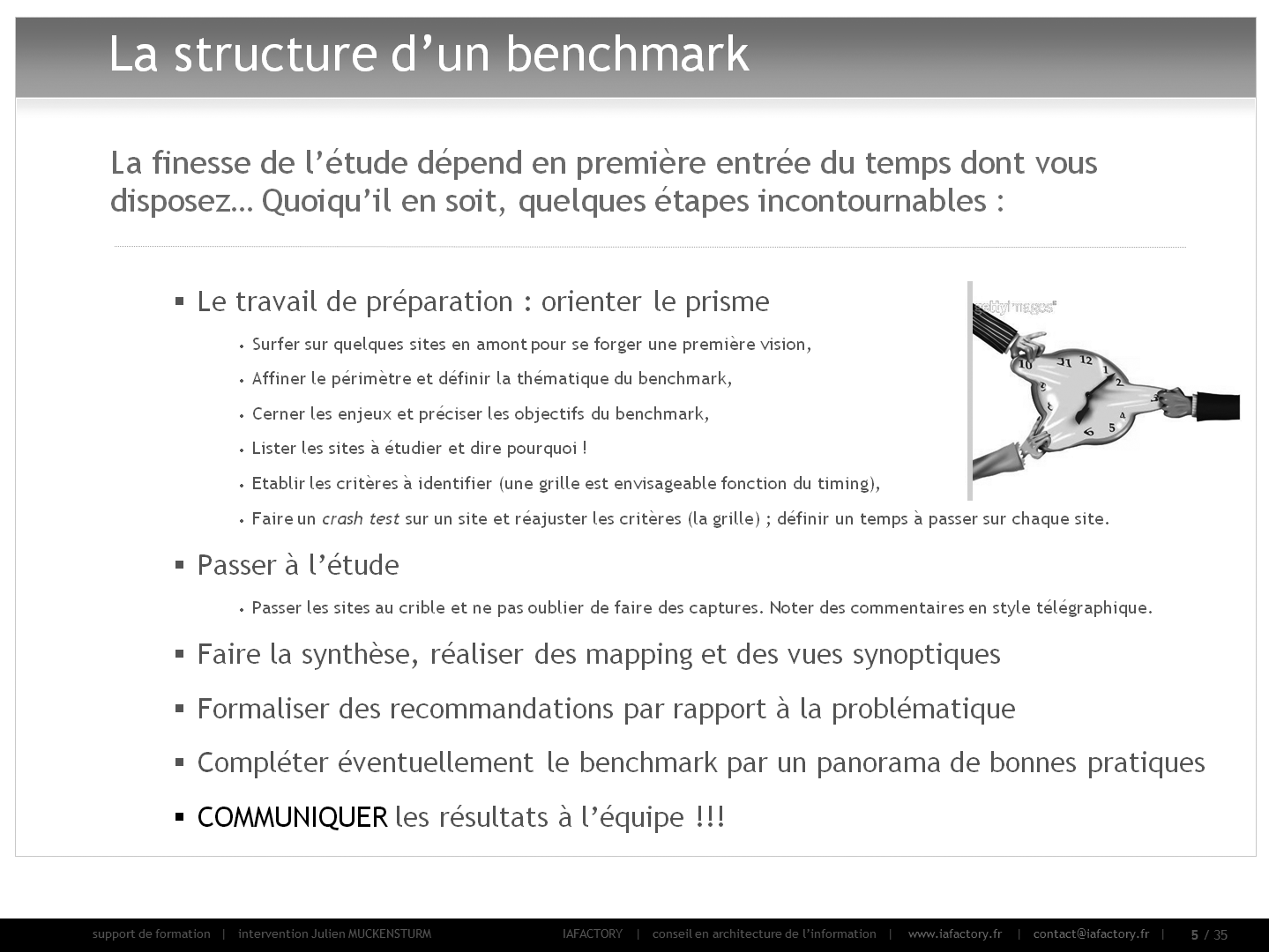 formation universitaire en conception - réaliser un benchmark (structure)
