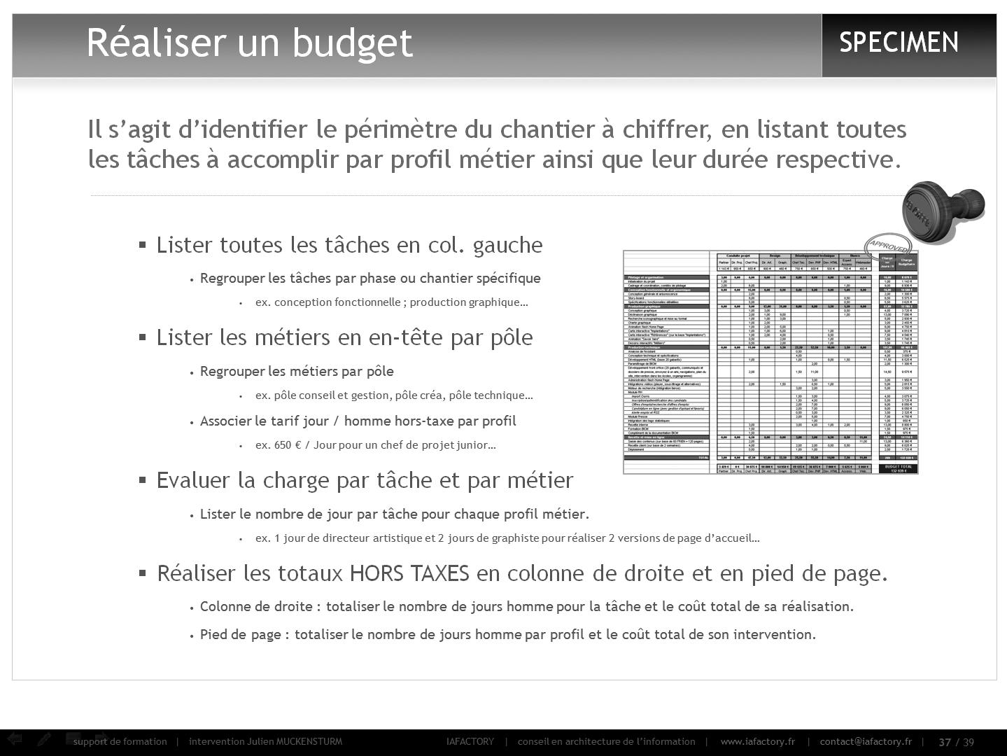 formation universitaire en gestion de projet – outils (budget)