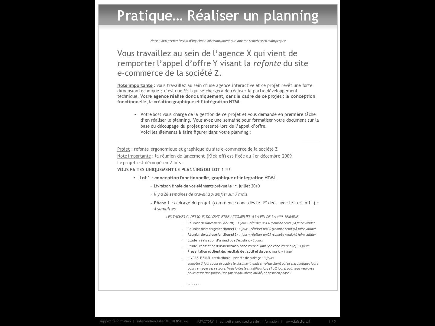 formation universitaire en gestion de projet – outils (exercice planning)