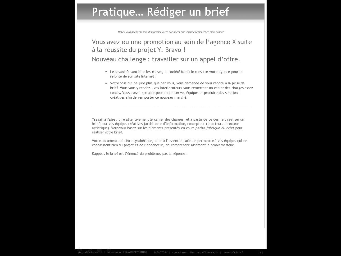 formation universitaire en gestion de projet – outils (exercice brief)