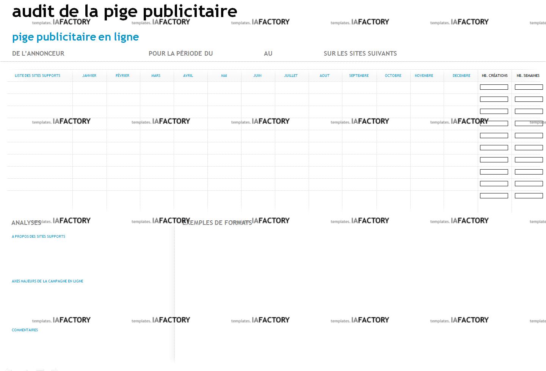 e-marketing – audit de la pige publicitaire (http://templates.iafactory.fr) – fichier .ppt
