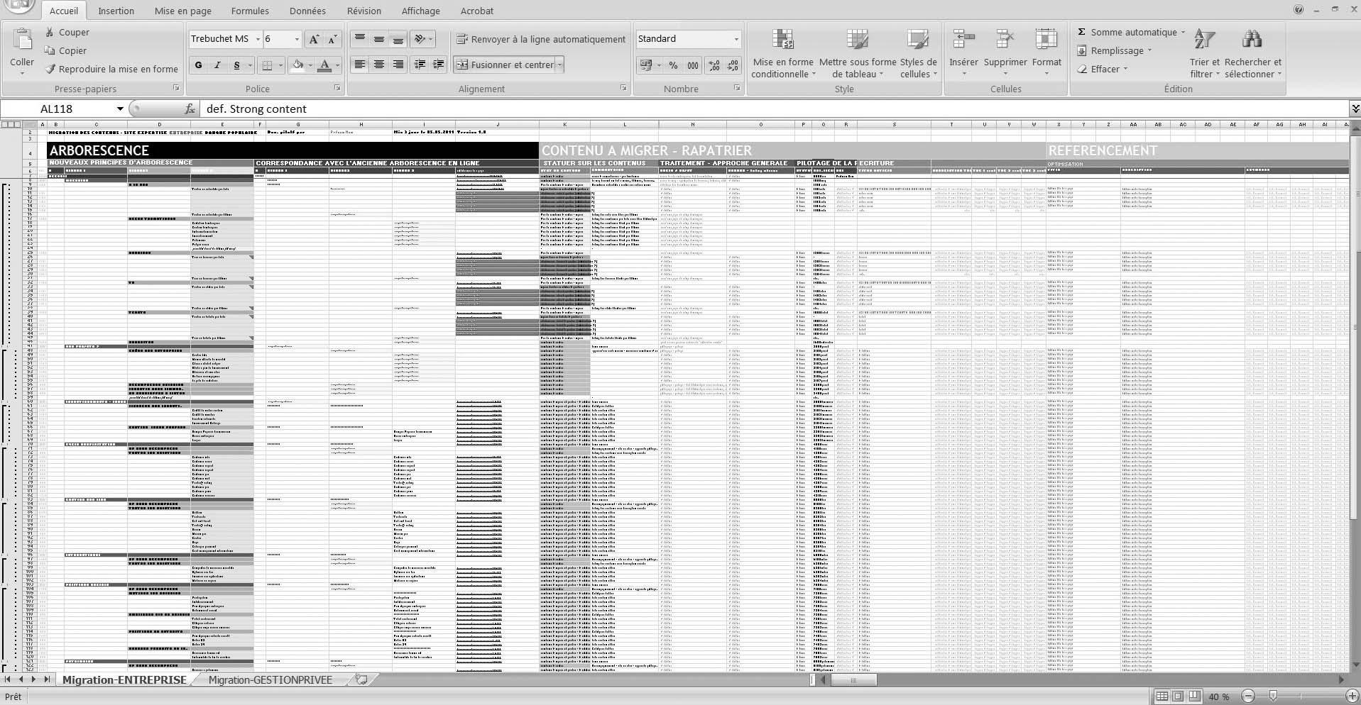 matrice des contenus - iafactory