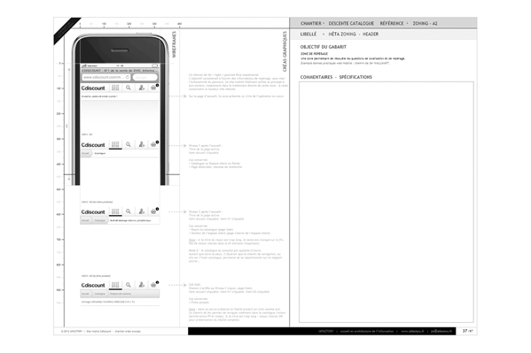 exemple de wireframe, structure de navigation - UX site mobile cdiscount