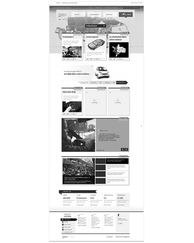 wireframe, esquisse d'interface, espace magazine  - UX Valeo