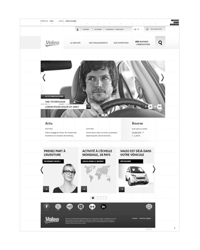 wireframe page d'accueil - UX Valeo