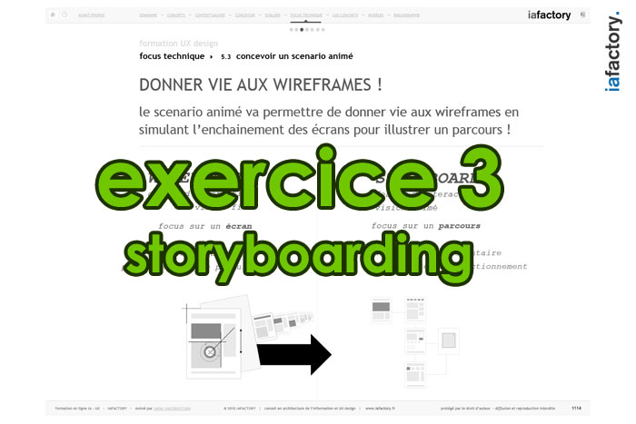 exercice ux design storyboard