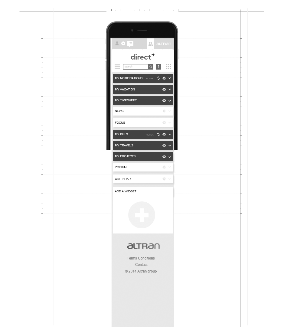 version mobile wireframe altran intranet,