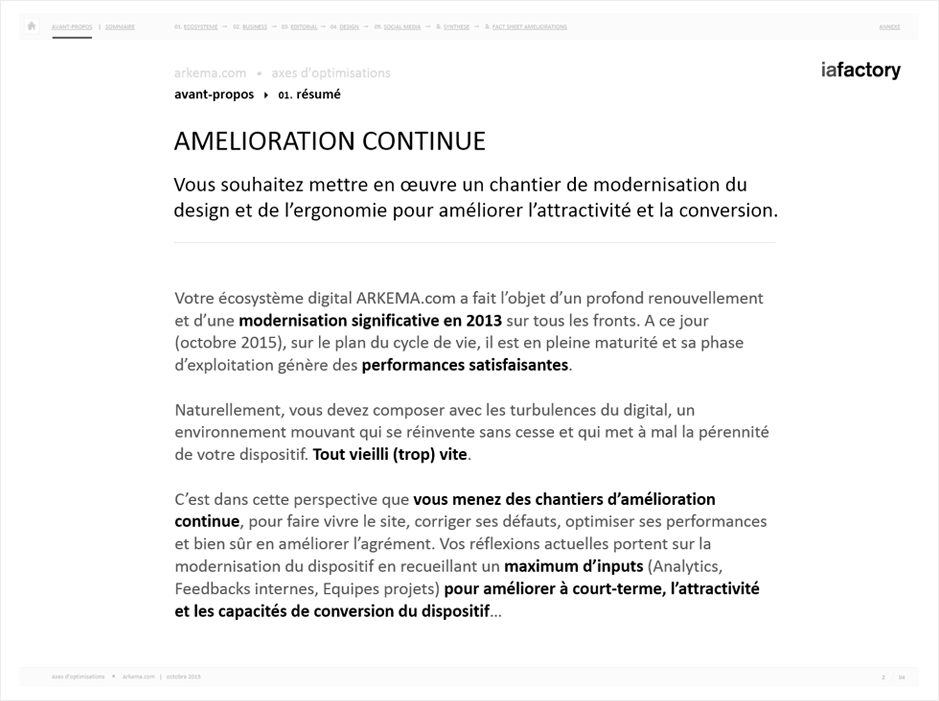 feuille de route, audit ergonomique arkema