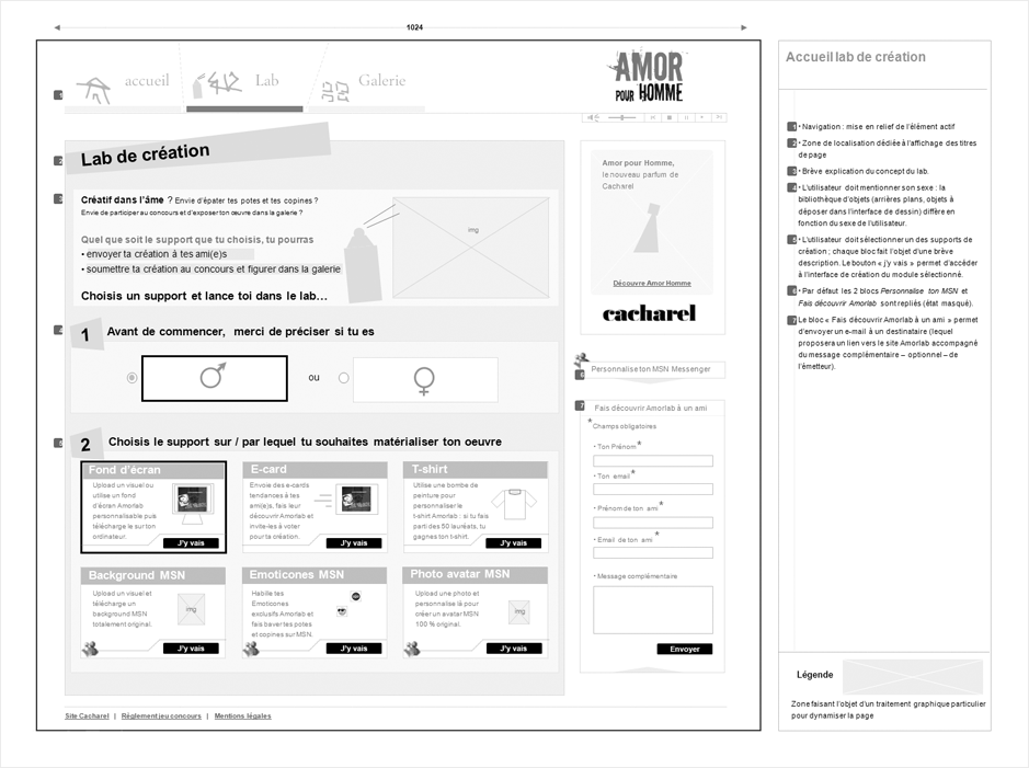 wireframe cacharel-amorlab
