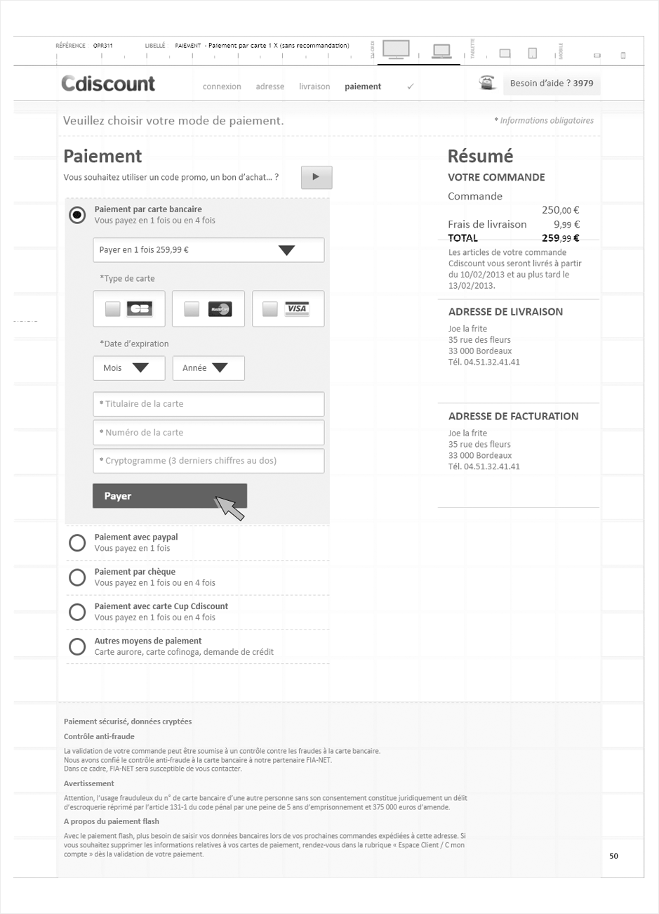 wireframe cdiscount-checkout-responsive