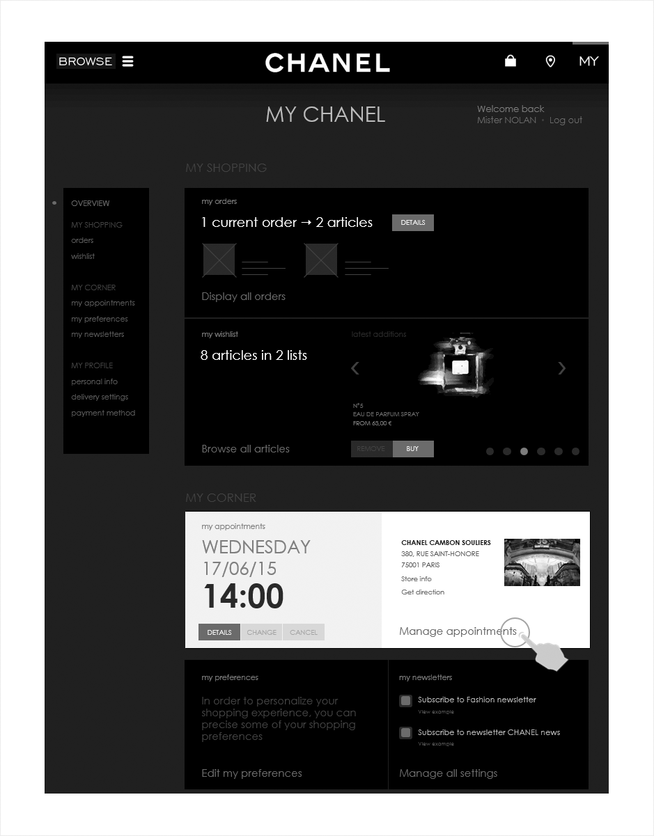 accueil espace client, wireframe relation client CHANEL