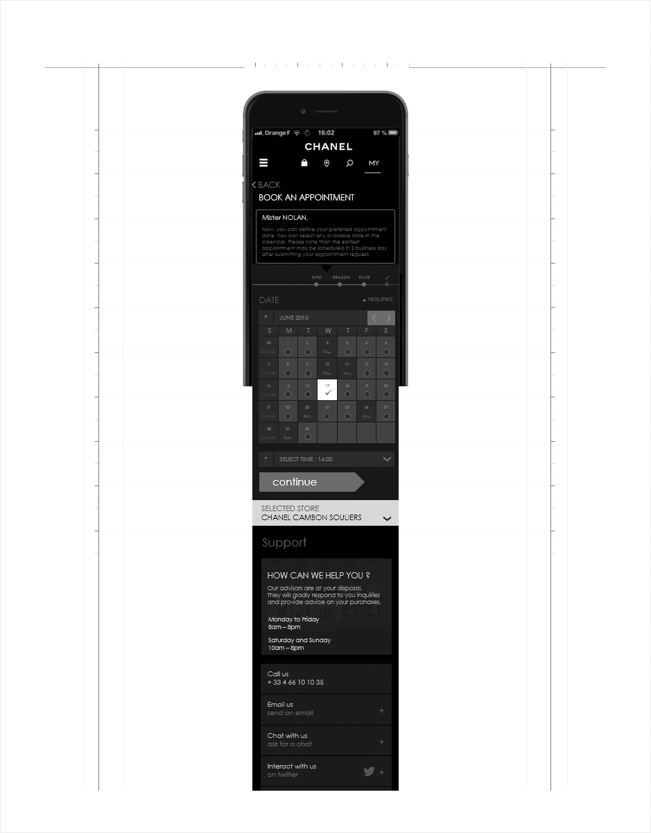 projection responsive, wireframe relation client CHANEL