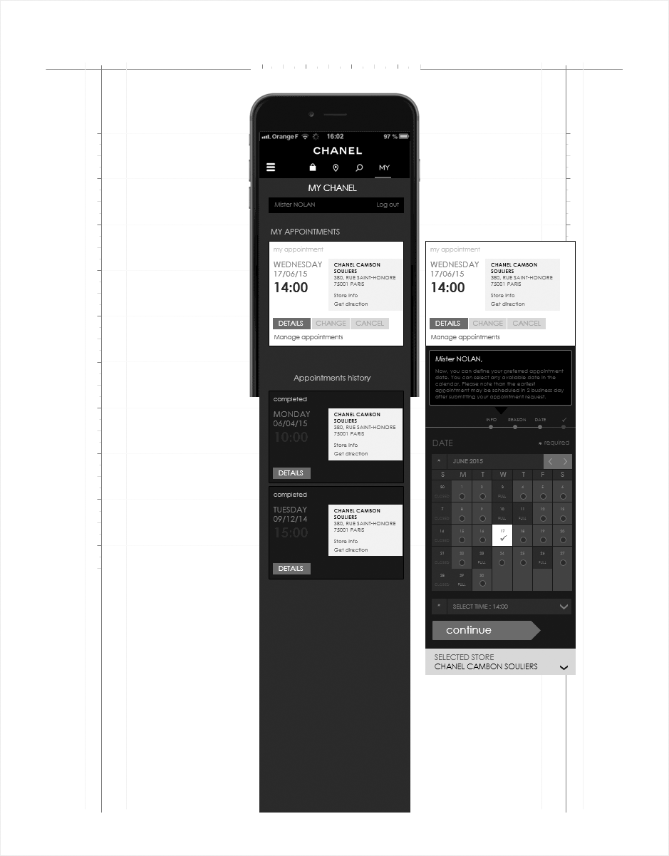 gestion des RDV - mobile, wireframe relation client CHANEL