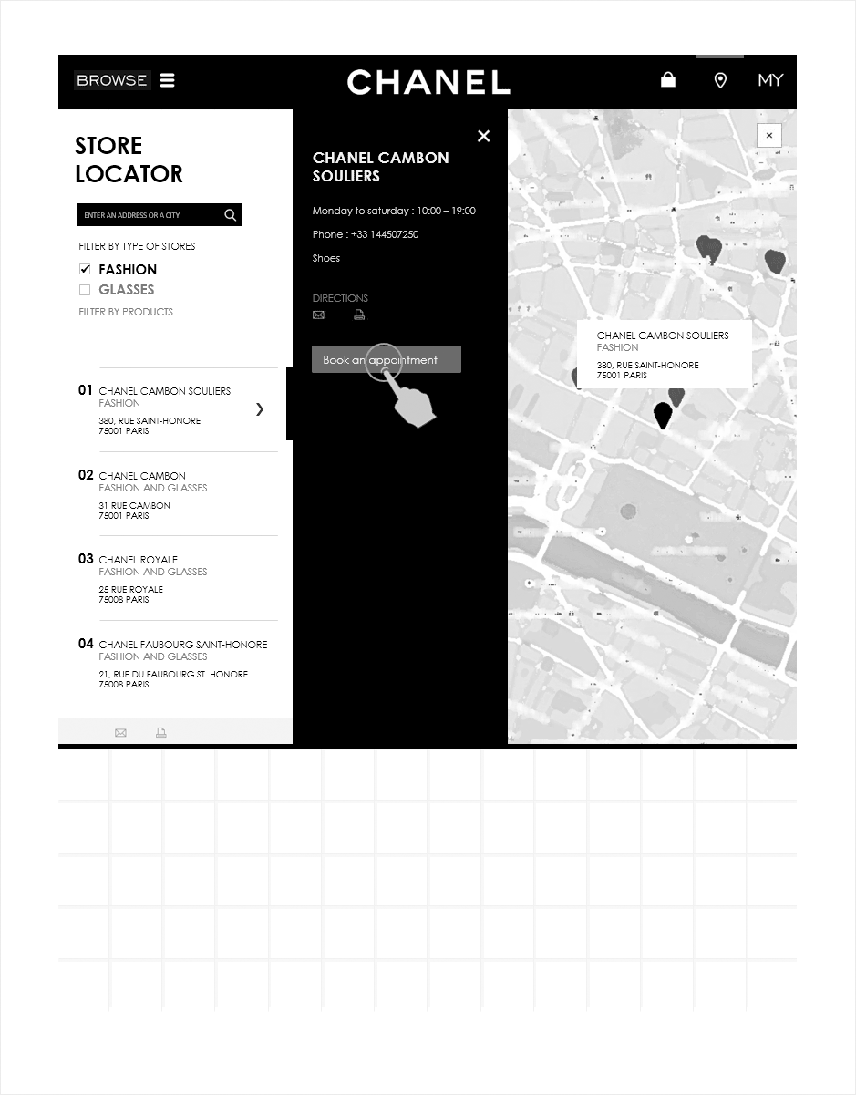 fiche boutique, wireframe relation client CHANEL