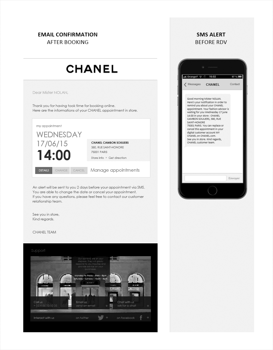 email et sms de confirmation, wireframe relation client CHANEL
