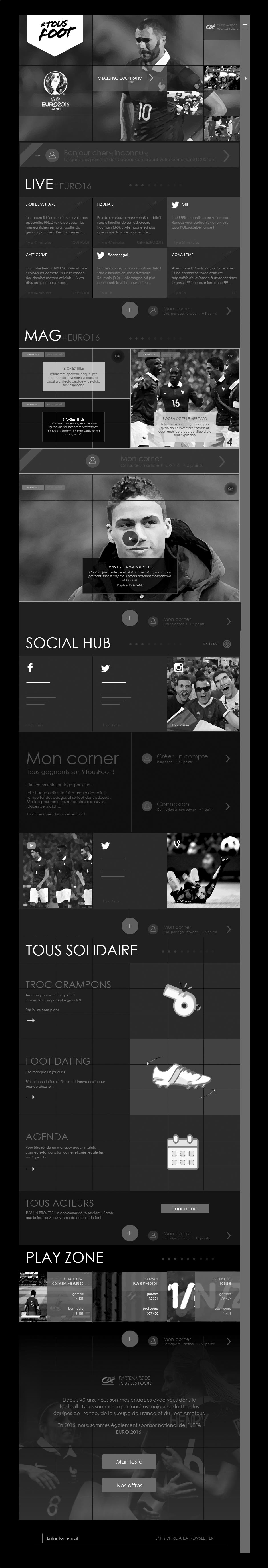 wireframe page d'accueil responsive tous foot credit agricole