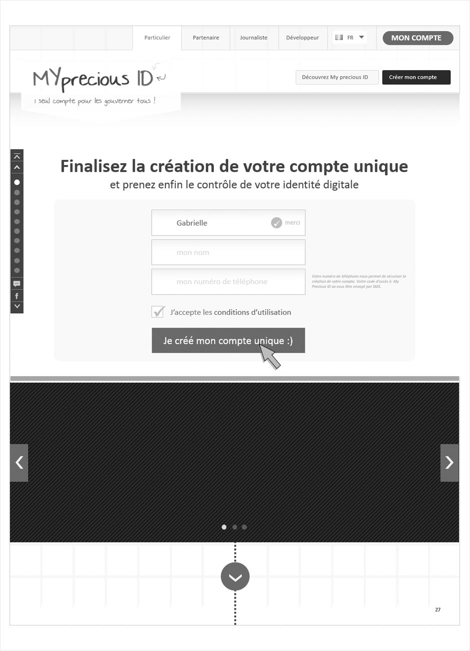 wireframe principe d'inscription mypreciousid