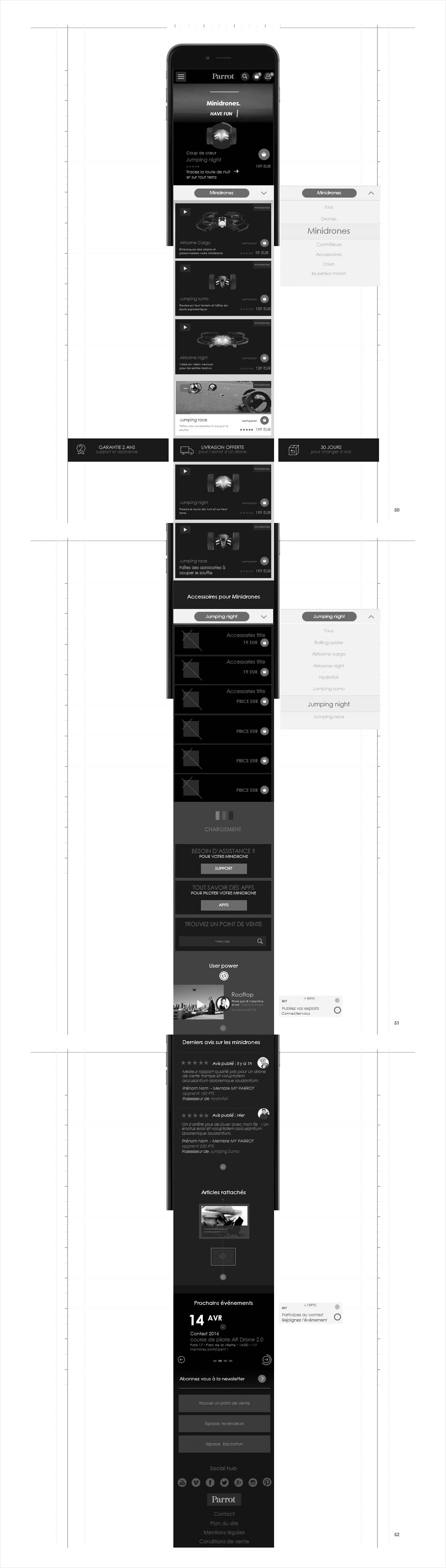 wireframe catalogue ecommerce parrot, liste produits responsive