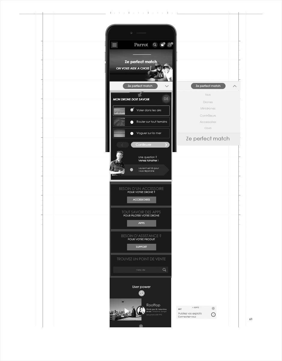 wireframe catalogue ecommerce parrot, aide au choix mobile