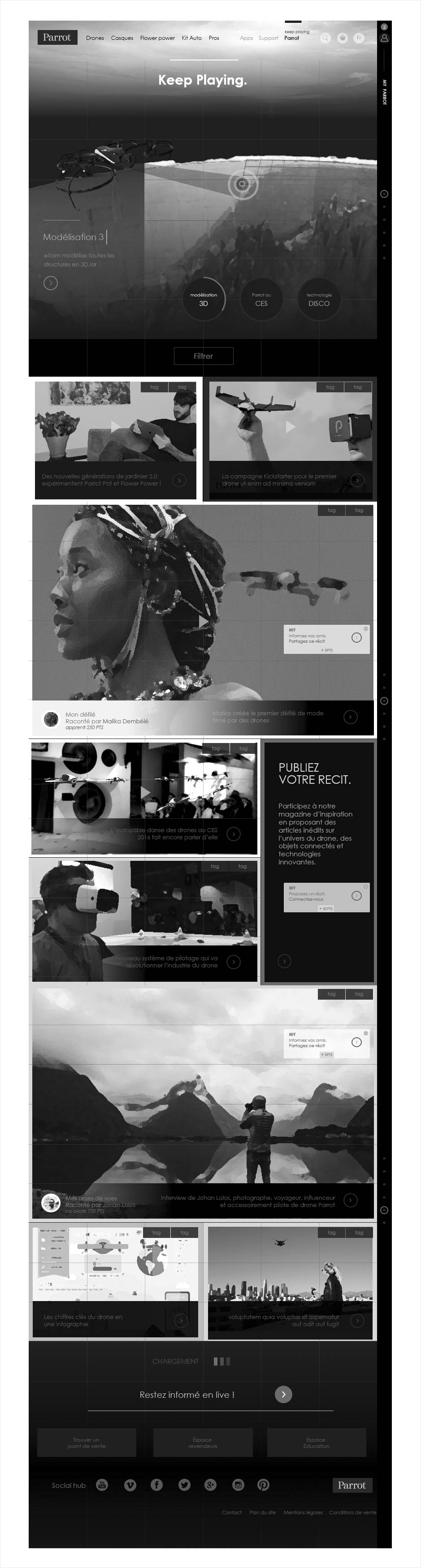 wireframe catalogue ecommerce parrot, magazine editorial