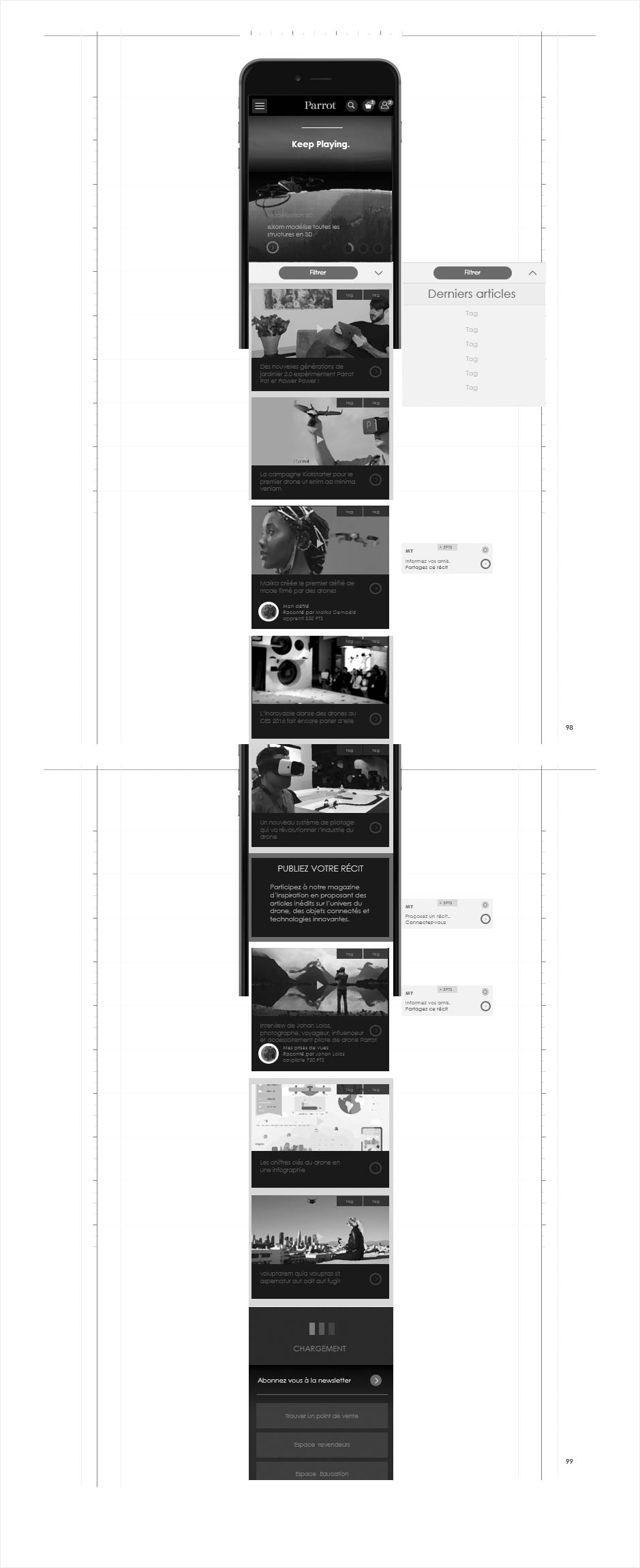 wireframe catalogue ecommerce parrot, magazine editorial mobile
