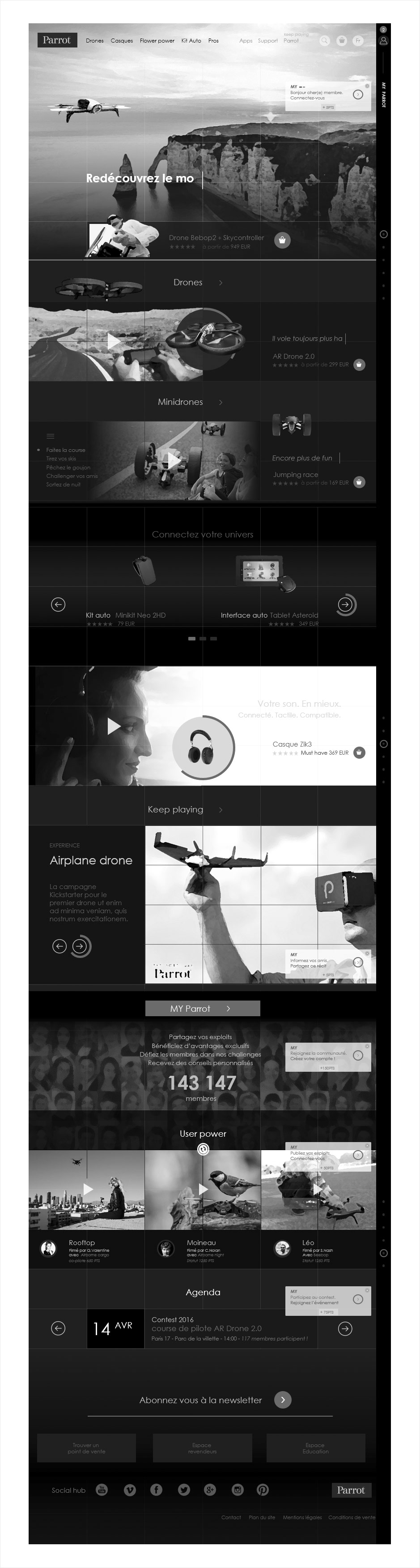 wireframe catalogue ecommerce parrot, accueil