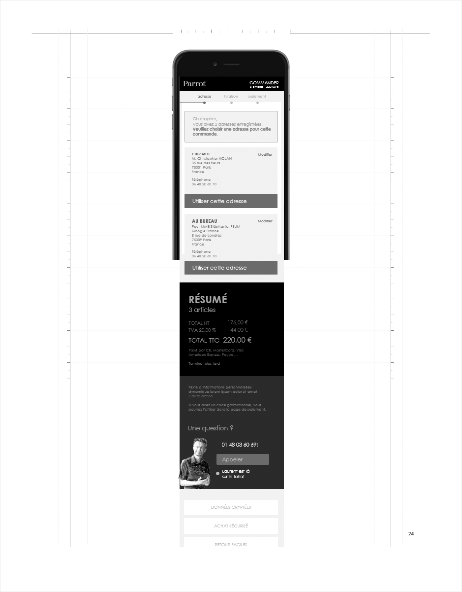 wireframe processus commande parrot, étape adresse mobile