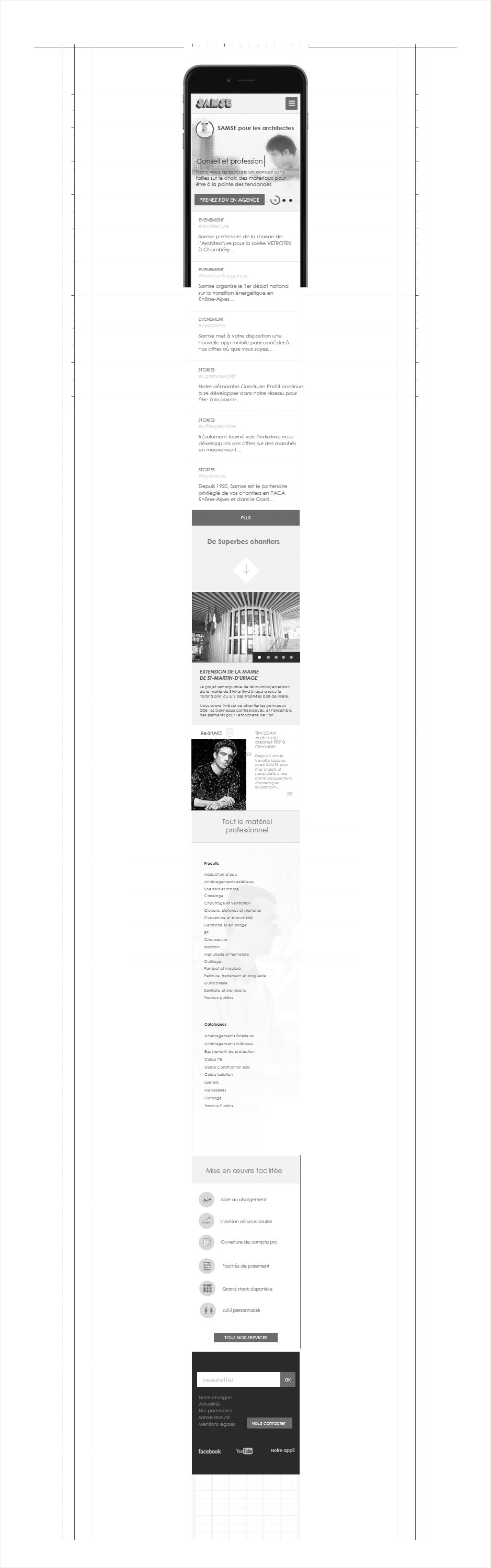 page métier mobile wireframe samse