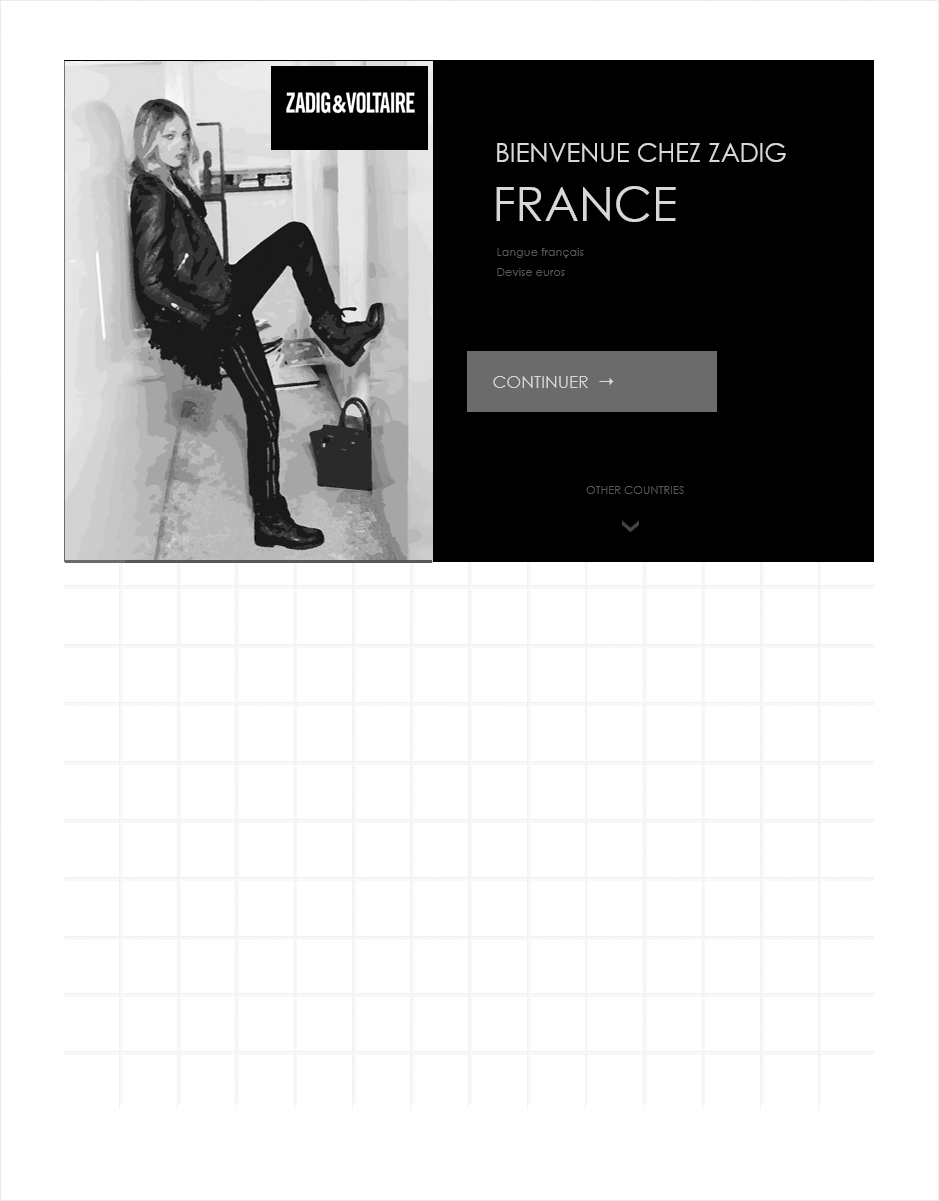 dispatch pays, wireframe ecommerce zadig & voltaire
