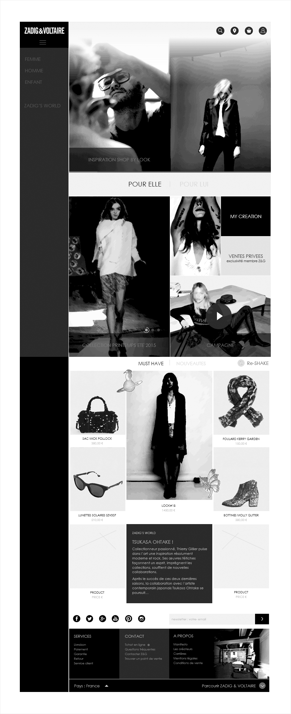 accueil, wireframe ecommerce zadig & voltaire
