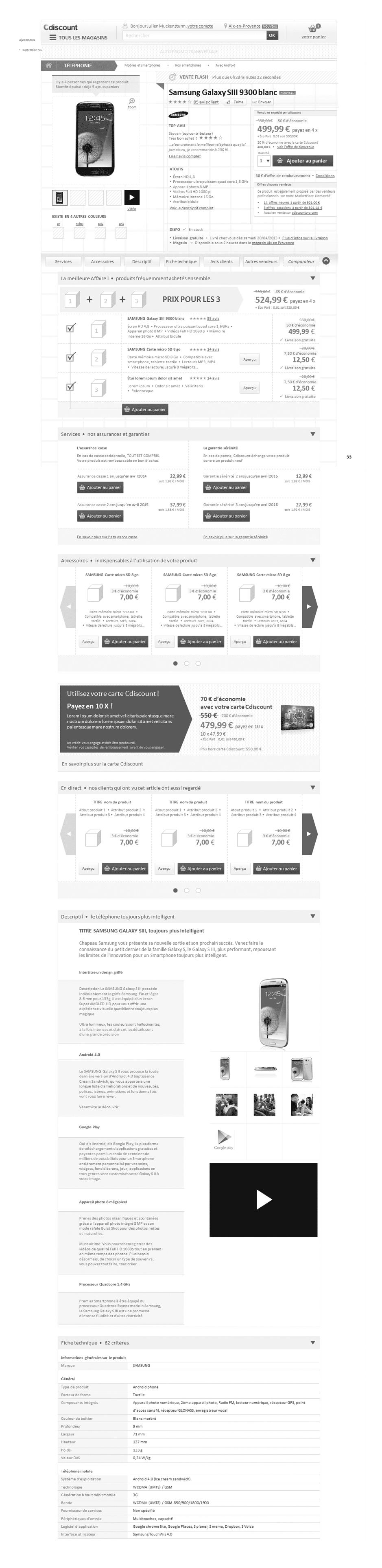 Exemple de design fonctionnel de fiche produit responsive