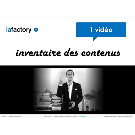 Vidéo inventaire des contenus + livrables
