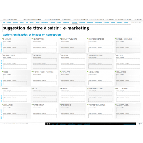 Planification des actions e-marketing, emarketing exemple, modèle de livrable emarketing