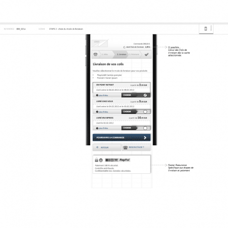 Wireframes - Processus de commande mobile - IAFACTORY shop