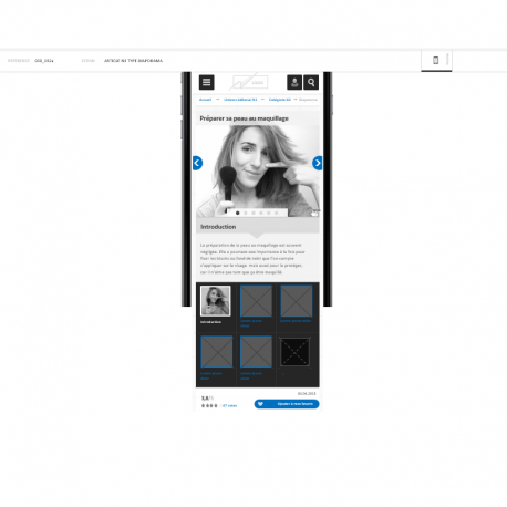 Wireframes de site editorial mobile - IAFACTORY shop