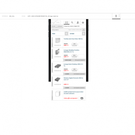 Wireframe - site ecommerce mobile - IAFACTORY shop