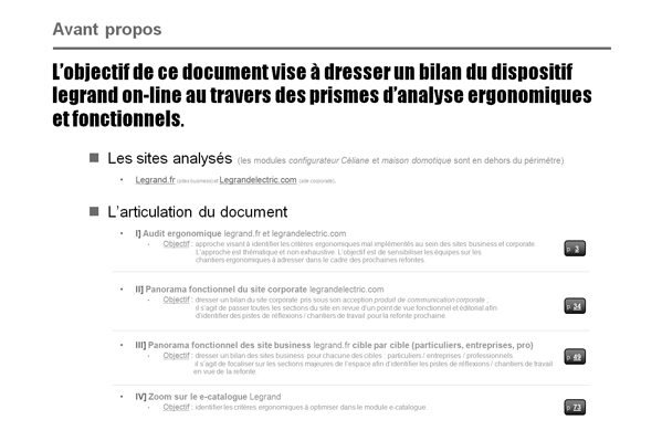 méthodologie d'audit du dispositif Legrand
